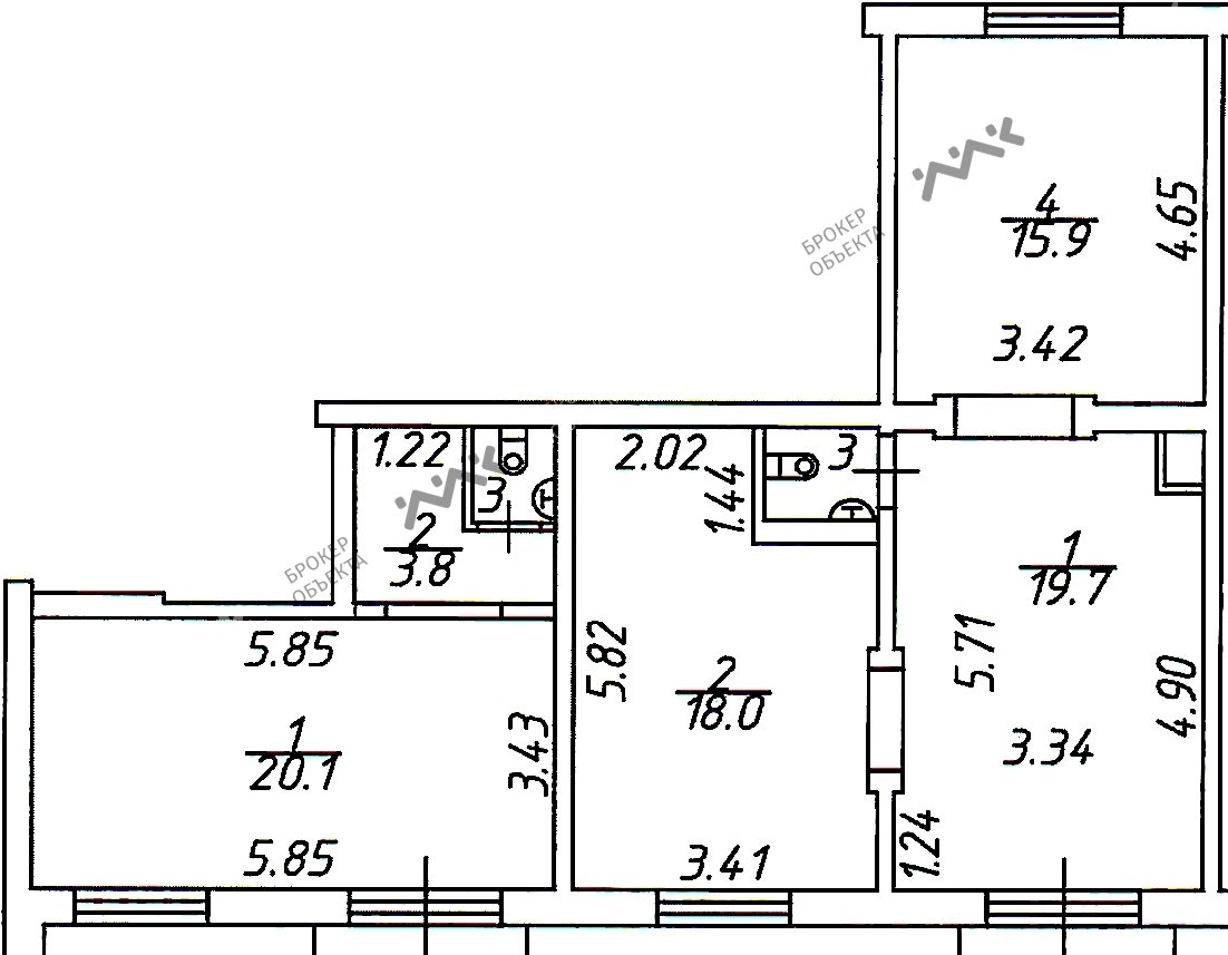Планировка Коллонтай ул., д.23. Лот № 1577394