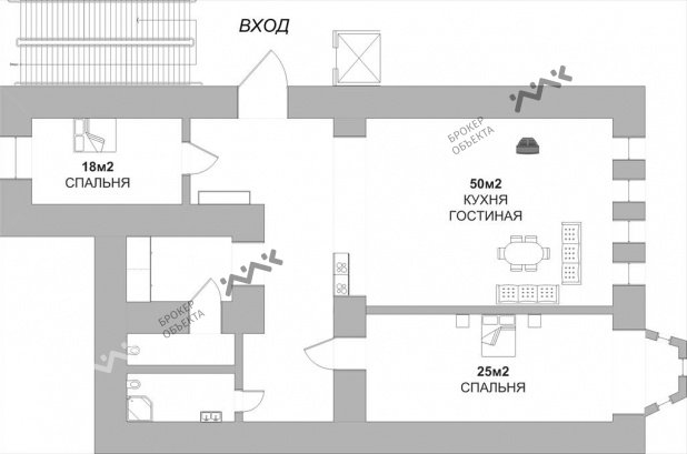 Планировка Некрасова ул., д.58. Лот № 889177